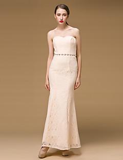 Formeller Abend Kleid - Mandelfarben Polyester - Etui-Linie - bodenlang - Herz-Ausschnitt
