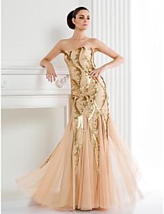 TS 문화가 공식적인 저녁 드레스 - 샴페인 트럼펫 / 인어 스파게티 스트랩 층 길이 반짝이