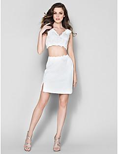 thuiskomst cocktail party dress - witte schede / kolom v-hals korte / mini chiffon