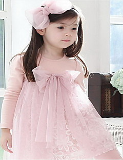 Retail Free Shipping Toddlers Girls  NWT Lovely Bow Knot Top Princess Cotton and Tulle Dress 2-7Y Clothes Pink Coffe