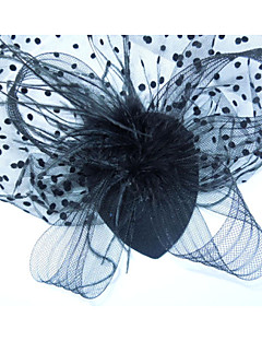 Women Black Dot Feather Vintage/Cute/Party/Work/Casual Lace Hair Clip