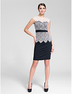 Cocktail Party Dress - Multi-color Sheath/Column Jewel Knee-length Polyester