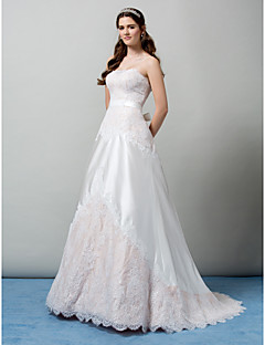 Lanting A-line Strapless Sweep/Brush Train Wedding Dress (Lace)