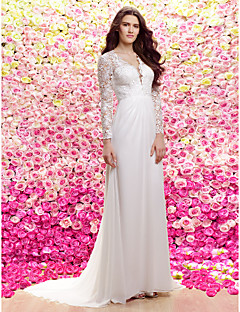 Lanting Sheath/Column V-neck Sweep/Brush Train Wedding Dress (Chiffon/Lace)