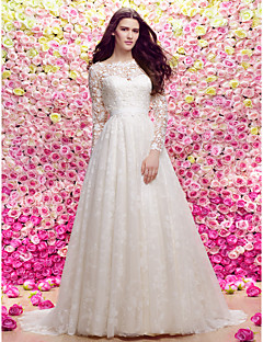 Lanting A-line/Princess Wedding Dress - Ivory Sweep/Brush Train Scoop Lace / Tulle