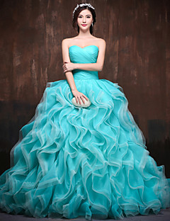 Formal Evening Dress - Pool / Watermelon Petite Ball Gown Sweetheart Chapel Train Satin / Tulle / Polyester
