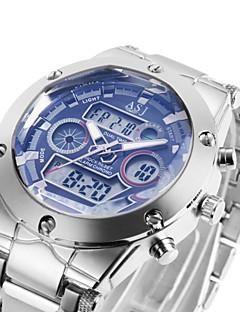 3 Colour Dual Dial Calendar Alarm 3ATM Waterproof LCD Chronograph Mens Sport Quartz Watch Stainless Steel Band Wrist Watch Cool Watch Unique Watch
