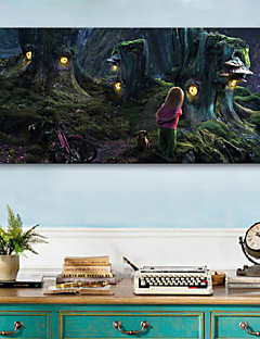 E-HOME® Stretched LED Canvas Print Art  Little Girl in The Forest LED Flashing Optical Fiber Print