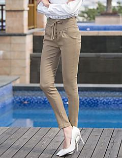 Dame Tynn Store størrelser Jeans Bukser Mellomhøyt liv Snorer Bomull Polyester Stretch Vinter