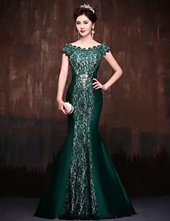 Formal Evening Dress - Dark Green Trumpet/Mermaid Off-the-shoulder Sweep/Brush Train Lace/Satin/Polyester