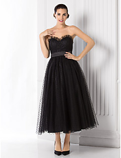 TS Couture Formal Evening Dress - Black Plus Sizes / Petite A-line / Princess Sweetheart Tea-length Tulle