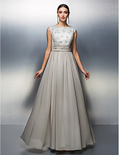 Sheath/Column Mother of the Bride Dress - Silver Floor-length Sleeveless Chiffon