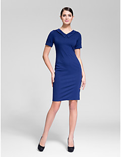 Kappe / Kolonne V-hals - Cocktail Fest Dress Knelengde Polyester