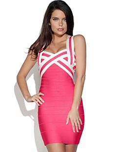 Column Spaghetti Straps Short/Mini Spandex/Nylon Taffeta/Rayon Bandage Dress