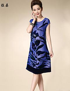 婦人向け ドレス , シルク/その他/ビスコース 膝丈 半袖