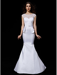 Lanting Bride® Trumpet / Mermaid Petite / Plus Sizes Wedding Dress Court Train Jewel Satin with