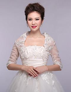 결혼식 볼레로 반소매 레이스 / 폴리 에스테르 우아한 자수 흰색 볼레로 어깨를 으쓱 랩 랩