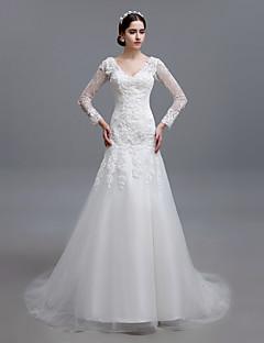 Trumpet/Mermaid Sweep/Brush Train Wedding Dress -V-neck Tulle