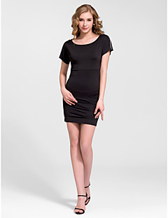 Cocktail Party Dress - White/Black Sheath/Column Bateau Short/Mini Knit