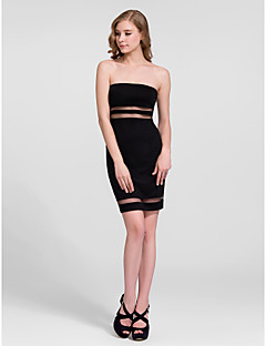 Cocktail Party Dress - Black Sheath/Column Strapless Short/Mini Cotton