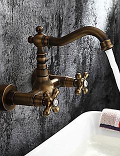 アンティーク調 / 伝統風 / アールデコ調/レトロ風 ローマンバスタブ ワイドspary with  真鍮バルブ 二つのハンドル二つの穴 for  アンティーク真鍮 , 浴槽用水栓