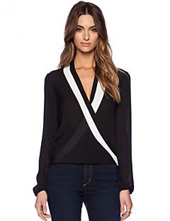 Langærmet Dyb V Gennemsigtig Kvinders Hvid / Sort Ensfarvet Sommer Simpel Formelle Bluse,Polyester