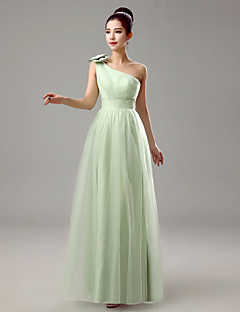 Dress Sheath / Column One Shoulder Floor-length Chiffon with Bow(s)