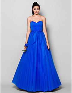 Robe - Bleu royal Soirée formelle Mode de bal Col en cœur Longueur ras du sol Tulle