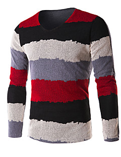 JOGAL Men's Casual/Work Striped Long Sleeve Regular Pullover (Cotton/Knitwear)