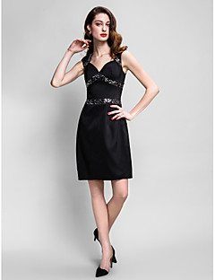 Homecoming Cocktail Party Dress - Black Sheath/Column Queen Anne Knee-length Stretch Satin