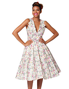Tea-length Cotton Bridesmaid Dress - Multi-color A-line V-neck