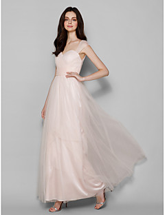 Lanting Bride® Floor-length Tulle Bridesmaid Dress - Sheath / Column Queen Anne Plus Size / Petite with Criss Cross