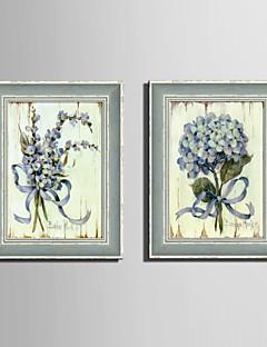 Blumenmuster/Botanisch Gerahmtes Leinenbild / Gerahmtes Set Wall Art,PVC Grau Kein Passpartout Mit Feld Wall Art