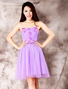 Robe - Violet Mode de bal Sans bretelles Longueur mi cuisse Dentelle