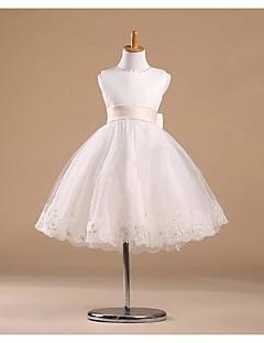 Prinses Knie-Lengte Bloemenmeisje jurk - Satijn/Tule Mouwloos