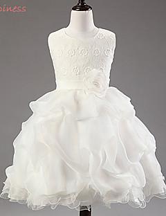 Girl's Summer/Spring/Fall Inelastic Medium Short Sleeve Dresses (Cotton/Organza/Polyester)