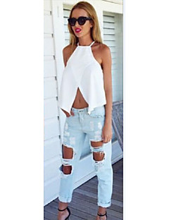 Women's Solid White/Black Blouse,Casual/Sexy Sleeveless