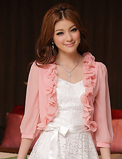 Wedding Wraps Chiffon/Polyester Sweet Elegant Lace Boleros White/Pink Bolero Shrug
