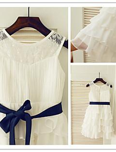 Blumenmädchenkleider knielangen Chiffon a-line Juwel Kleid