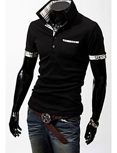 Tee-Shirt Décontracté/Travail/Sport Pour des hommes Manches Courtes Couleur plaine Mélange de Coton