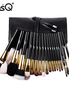 msq® 18pcs donker bruin make-up tas zwart dierlijk haar make-up kwast sets