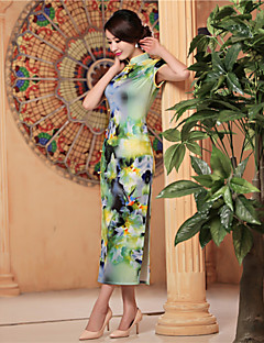 Formal Evening Dress - Sage Sheath/Column High Neck Tea-length Satin