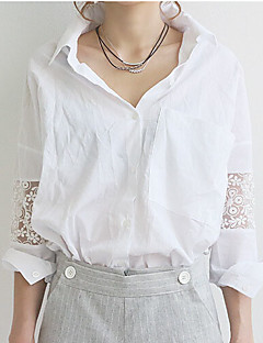 Women's Casual/Daily Simple Summer Shirt,Solid Shirt Collar Long Sleeve White Cotton Thin