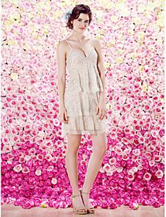 TS 패션 칵테일 파티 드레스 - 칼집 / 칼럼 고삐 짧은 / 미니 얇은 명주 그물