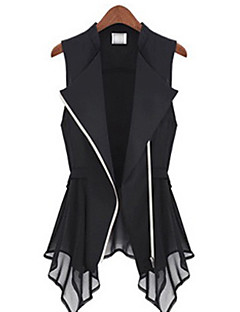 Women's Solid White/Black Vest , Shirt Collar Sleeveless Zipper