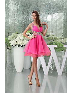 Homecoming Cocktail Party Dress A-line Halter/Sweetheart Knee-length/Court Train Organza Womn Short Dress