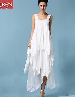 Dámské Sexy / Jednoduché Plážové Velké velikosti / Swing Šaty Jednobarevné,Bez rukávů Ramínka Maxi Bílá Bavlna / Polyester / Jiné Léto
