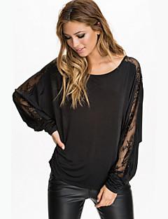 여성의 솔리드 라운드 넥 긴 소매 티셔츠,심플 캐쥬얼/데일리 블랙 여름 중간