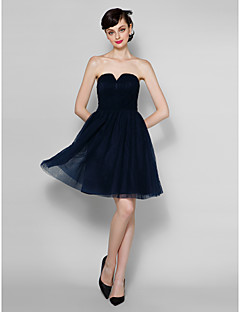 Knee-length Chiffon/Lace Bridesmaid Dress - Dark Navy A-line Strapless