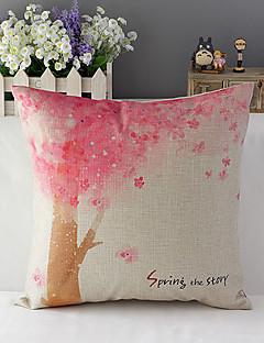 lantlig stil körsbärsträd mönstrad bomull / linne dekorativa kuddöverdrag
